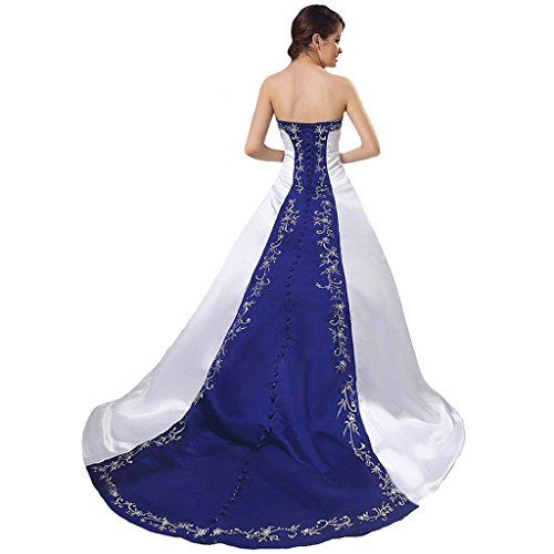 white and blue wedding dress - 1