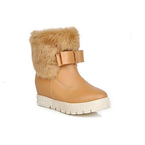 AdeeSu Ladies Spun Gold Bowknot Kitten-Heels Round Toe Imitated Leather Boots Apricot I6TcgpIvby