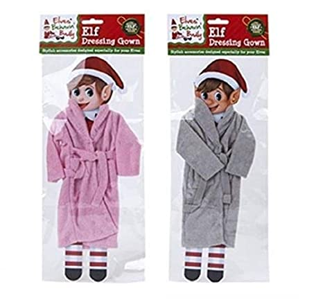Grey Dressing Gown Elves Behavin Badly Elf Dressing Gowns Christmas Figure Elf on a Shelf Accessories 2 Assorted Colours