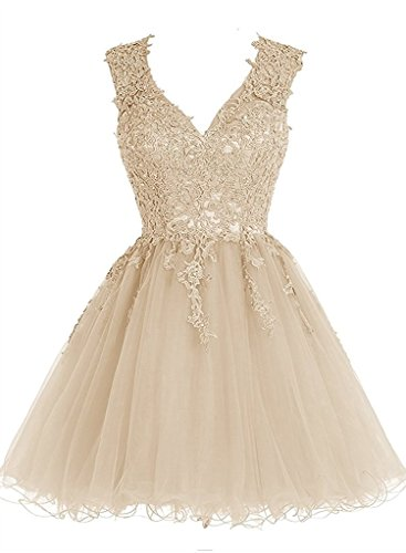 Homecoming Dress Short Cocktail Dress Lace Homecoming Dresses Tulle Appliques Prom Dress V Neck Champagne