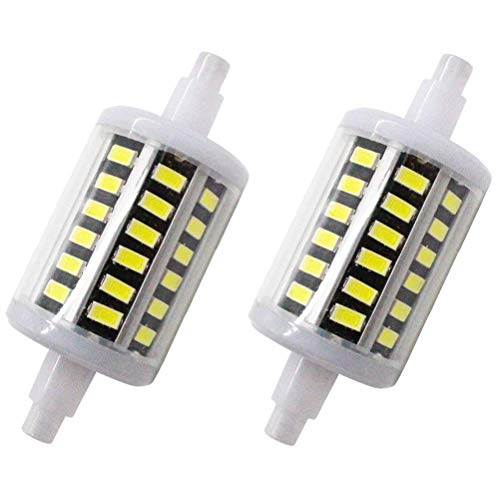 MD Lighting R7S 78mm 5W R7S LED Bulb Double-Ended R7s led Bulbs(2 Pack)- 48pcs SMD5730 LED R7s Light Bulb Daylight White 6000K J Type Double Ended 40W R7S J78 Halogen Bulb Replacement,AC 85-265V ()