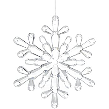 Factory Direct Craft Group of 4 Crystal Acrylic Snowflake Ornaments for Tree Trim, Package Embellishments, and Holiday Crafting