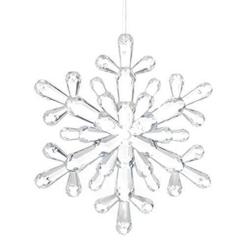 Factory Direct Craft Group of 4 Crystal Acrylic Snowflake Ornaments for Tree Trim, Package Embellishments, and Holiday -