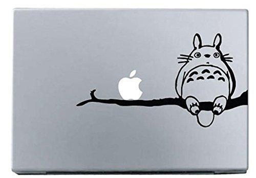 Vati Leaves Removable Creative Cartoon My Neighbor Totoro Standing On A Tree Decal Sticker Skin Art Black for Apple MacBook Pro Air Mac 13