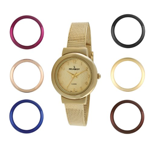 Peugeot Bezel Watch (Peugeot Women's Slim All Gold Stainless Steel Mesh Bracelet 7 Bezel Interchangeable Watch Gift Set 642G)