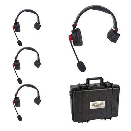 CAME-TV WAERO Hands Free Full Duplex Digital Wireless Headset Communication System with Hardcase (1 Master and 3 Remote Single Ear Headsets. 1200ft Los Range) ()