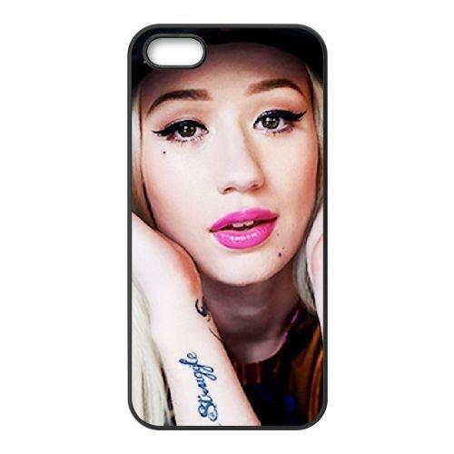 Iggy Azalea 004 coque iPhone 5 5S cellulaire cas coque de téléphone cas téléphone cellulaire noir couvercle EOKXLLNCD24519