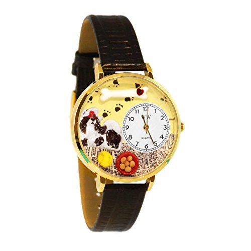 Whimsical Watches Unisex G0130069 Shih-Tzu Black Skin Leather Watch
