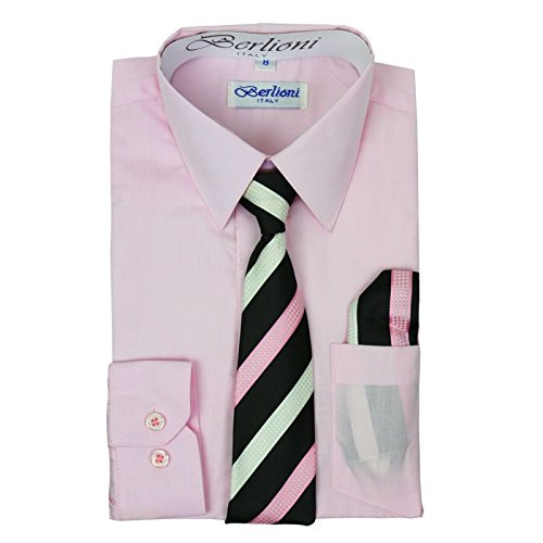 Boys In Pink Dresses - Berlioni Boys Italian Long Sleeve Dress Shirt with Tie & Hanky-PINK-10