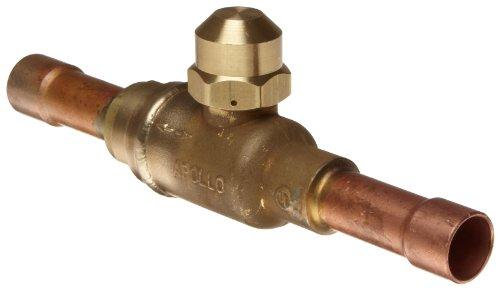 Apollo 79-700 Series Brass Refrigerant Ball Valve, Two Piece, Inline, No Handle, 1/2