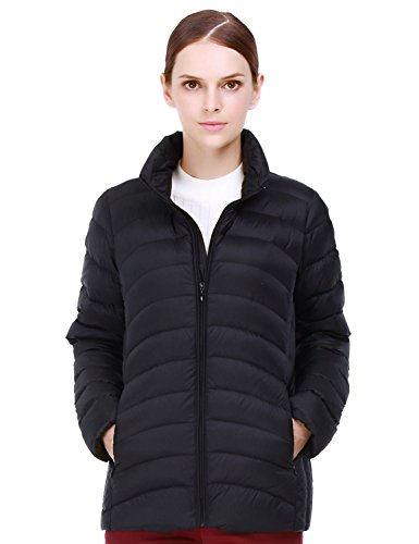 Puredown Women's Outdoor Ultra Light Packable Down Jacket, Black - Zip Front Puffer