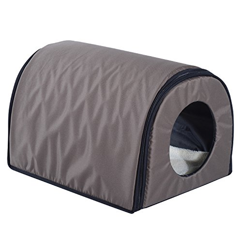 Pawhut Heated Outdoor Cat Shelter - Brown (Single, Brown)