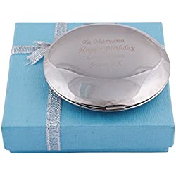 GP Personalized Compact Mirror Silver Round Crystal Compact Mirror Free Engraved for Custom Wedding Gift