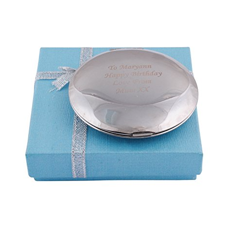 (GP Personalized Compact Mirror Silver Round Crystal Compact Mirror Free Engraved for Custom Wedding Gift)