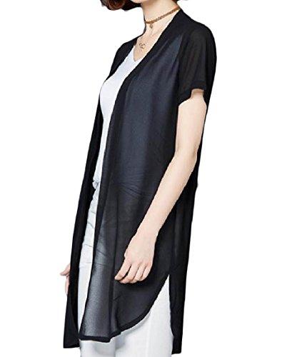 VITryst 女性のソリッドカラーの日焼け止めミッドロングシフォン半袖カーディガン
