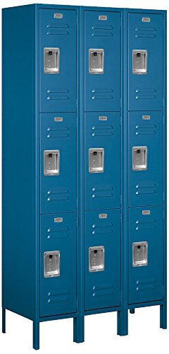 Salsbury Industries 63365BL-U Triple Tier 36-Inch Wide 6-Feet High 15-Inch Deep Unassembled Standard Metal Locker, Blue by Salsbury Industries