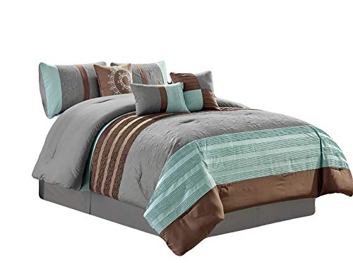 HGS 7-Pc Dahlia Tropic Floral Damask Scroll Embossed Pintuck Stripe Comforter Set Mint Green Brown Gray ()