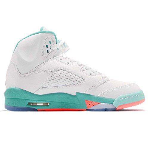 separation shoes 565f8 b5f23 Nike Air Jordan 5 Retro Kids GS White Crimson Pulse-Light Aqua 440892-