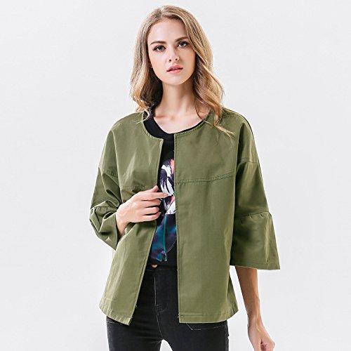 Mujer con cuello redondo de color puro siete-manga, chaqueta verde militar, XL: Amazon.es: Ropa y accesorios