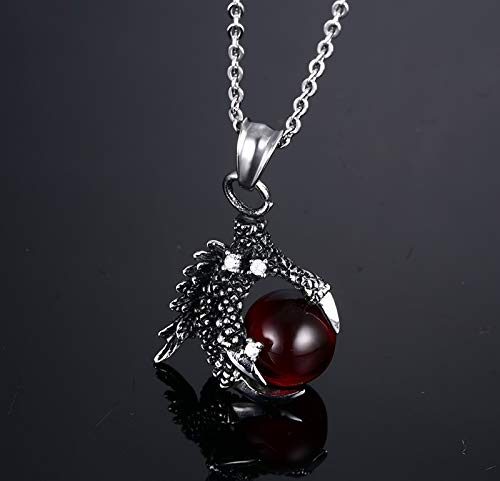 Titanium Steel Necklace Men and Women Simple Punk Fashion Dragon Claw Set Glass Beads Trend Gift Creative Personality Vintage Pop Red