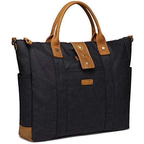 Laptop Bag for Woman,VASCHY Water Resistant Vintage Leather Waxed Canvas Laptop Tote Work Bag for Women Fits 15.6inch Laptop with Detachable Shoulder Strap ()