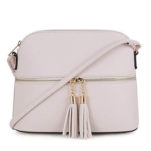 SG SUGU Lightweight Medium Dome Crossbody Bag with Tassel | Zipper Pocket | Adjustable Strap (ND)