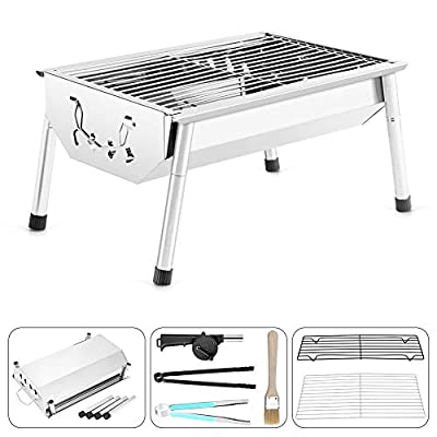 NAFURNO Portable Charcoal Grill Folding Stainless Steel Barbecue Grill Great for Garden Barbecue, Picnics, Outdoor Camp,Adventures by NAFURNO