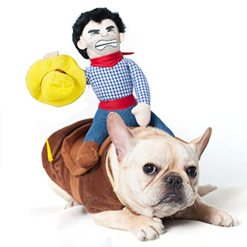 GYJ Pet Funny Costume, Cowboy Rider Novelty Clothes Party Fancy Dress for Dogs and Cats Halloween Suit,L]()