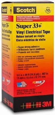 Scotch Super 33+ Vinyl Electrical Tape, 3/4 x 44 ft, Pack of 10 Rolls