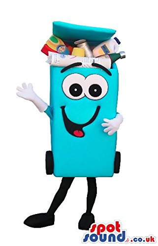 [Blue Recycling Trash Can SPOTSOUND US Mascot Costume With A Cartoon Face] (Recycle Bin Costume)