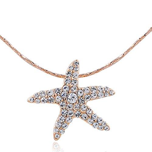 Around The World Costume Ideas Male (AROUND 101 Swarovski Elements AAA Zircon Starfish Sea Star Austrian Crystal Necklace (Gold))
