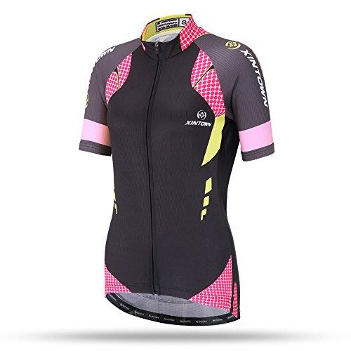 DuShow Women/Ladies Summer Multicolor Short-Sleeve Cycling Jerseys Top(S,Black)