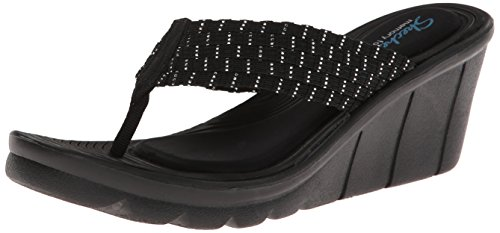 Skechers Negro mujeres Plateado Paseo entrelazado sandalias del marítimo las cuña de de Cali HHwPYr
