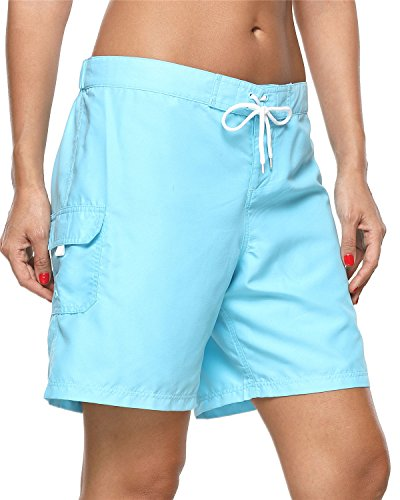 ALove Women's Loose Fit Swim Shorts Quick Drying Boardshorts Swimsuits Bottom Blue Medium by ALove (Image #6)
