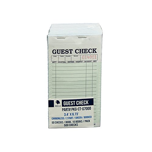 Guest Check PKG-CT-G7000 2 Part Carbonless, Perforated, Green, 3.4'' x 6.73'' Qty: 500 (50 of 10 books) by Gorilla Supply