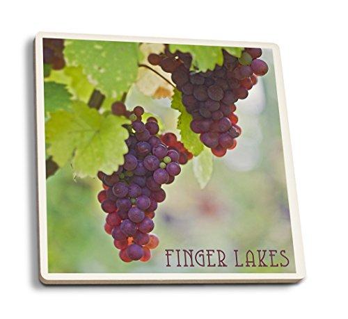 Grape Ceramic - Finger Lakes, New York - Wine Grapes (Set of 4 Ceramic Coasters - Cork-Backed, Absorbent)