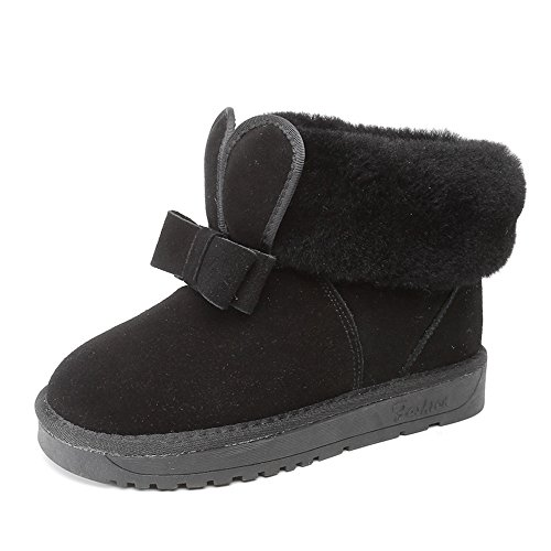 Price comparison product image A2kmsmss5a Womens Mini Short Winter Boots Suede Leather With Faux Fur Lined Snow Booties (Black-4.5 B(M) US Women)