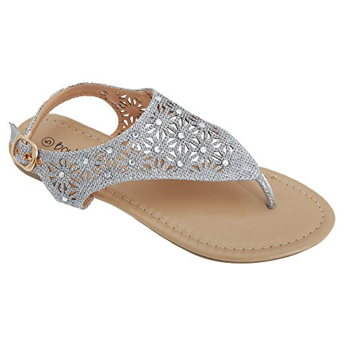 Boulevard Womens/Ladies Punched Sling Back Toe Post Sandals Silver afnHHY