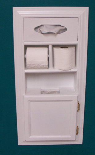 (MPU-1) Recessed Solid Wood Bathroom In the Wall Trash Can Toilet Paper Holder Tissue Kleenex Dispenser Multipurpose Unit, Enamel Finish, Holds Spare Roll Also, Uses Standard Small Garbage Bags by WG WOOD GROUP
