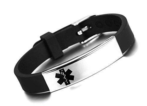 JF.JEWELRY Medical ID Alert Bracelet for Men Silicone Band & Stainless Steel Tag Free Engraving-Black