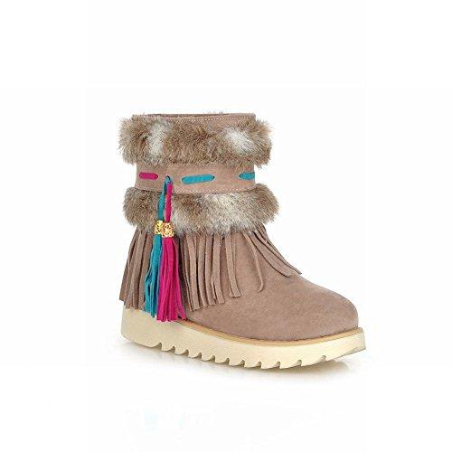 Carol Chaussures Confort Femmes Glands Mignons Fausse Fourrure Pendentif Mode Plat Bottes De Neige Abricot