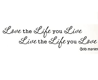 Dailinming PVC Wall Stickers Wall Decal Sticker Quote Vinyl Lettering Bob Marley Love the Life You Live 91X23CM