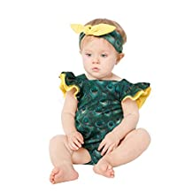 belababy Girls Peacock Printed Romper with Headwear