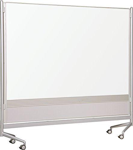 Whitebooard Room Partition and Display Panel, Double Sided Dura-Rite Markerboard, 6 x 8 Feet (661AH-HH) ()