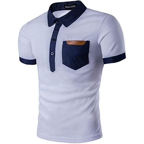 0d9d008a Whatlees Mens Hipster Casual Slim Fit Basic Polo Shirts Short Sleeve with  Pocket/Tops hot