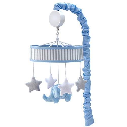 Zutano Elefant Blau Musical Mobile, White/Blue/Grey