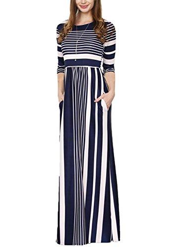Bdcoco Womens Short Sleeve Color Block Striped Loose Casual High Waist Shirt Maxi Dress