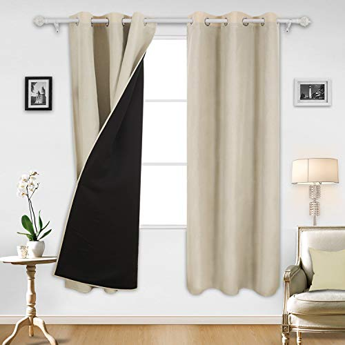 (Deconovo Room Darkening Thermal Insulated Top Grommet Faux Linen Lined Blackout Curtains for Bedroom 38x63 Inch Beige Set of 2 )