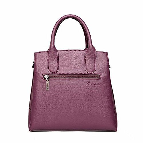 LANDONA Bolsos de las señoras, mujeres de Nueva taleguilla taleguilla, de gran capacidad de piel de oveja de las rayas de cuero suave, Bolso de mano La Mujer 908 Purple
