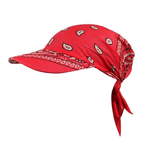Toponly Indian Muslim Women Retro Floral Cotton Baseball Cap Brim Turban Towel Hat Head Wrap Red